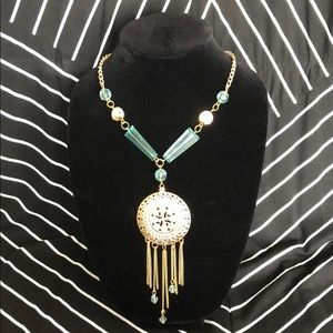 Costume jewelry adjustable statement necklace teal
